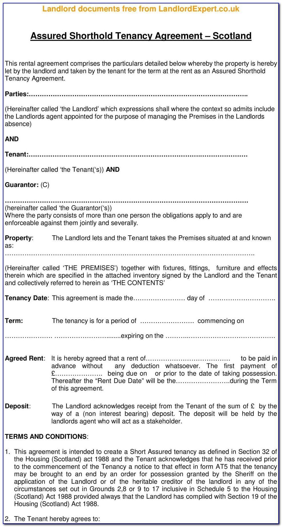 Free Assured Short Term Tenancy Agreement Template Scotland