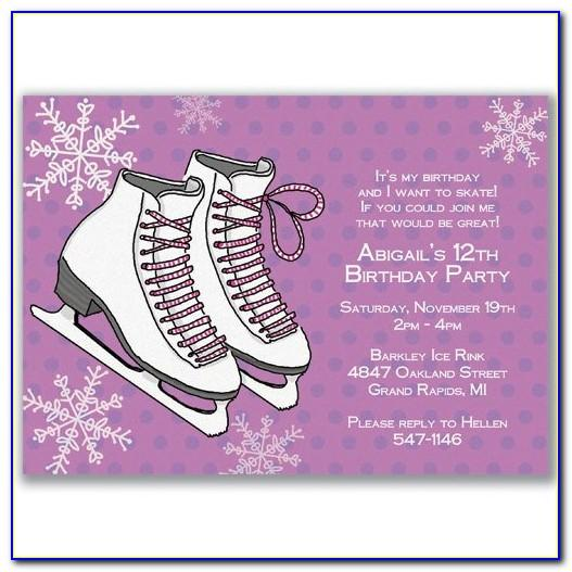 Free Birthday Invitations Ice Skating Templates