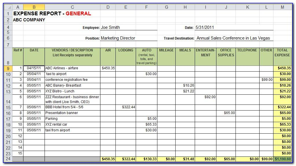 Free Expense Spreadsheet Template Excel