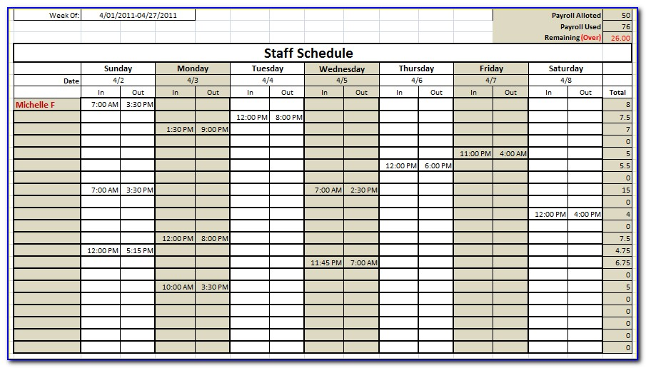 Free Monthly Staff Roster Template Excel