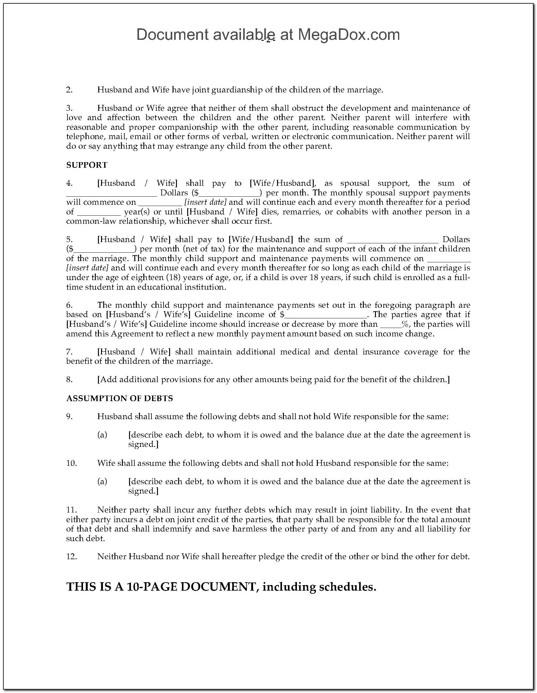 Free Separation Agreement Template Uk Pdf