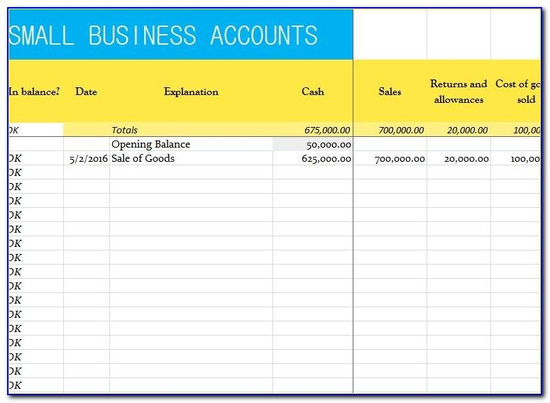 Free Small Business Accounts Template Excel