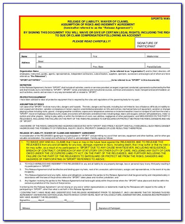 Free Sports Liability Waiver Form