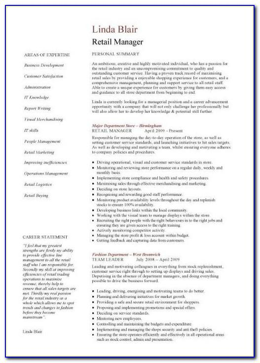 Free Store Manager Resume Templates