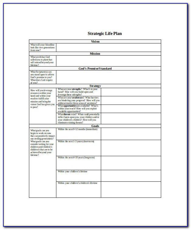 Free Strategic Life Plan Template