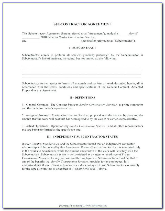 Free Subcontractor Agreement Template Australia