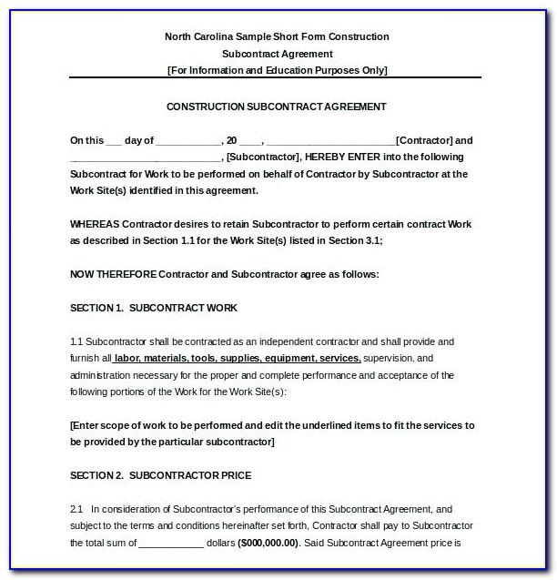 Free Subcontractor Agreement Template Word Australia