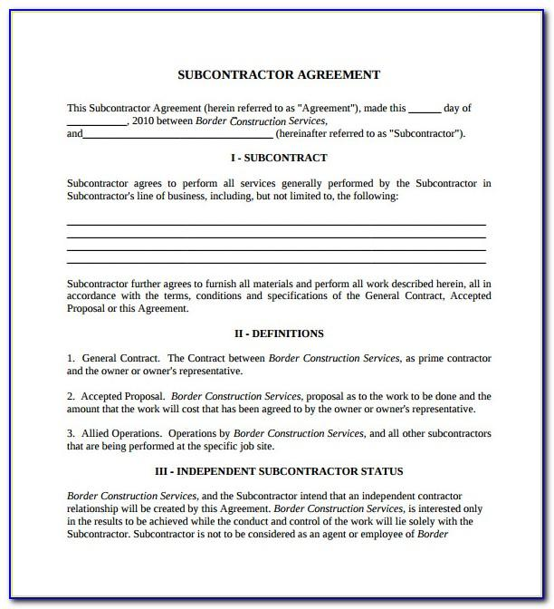 Free Subcontractor Agreement Template Word