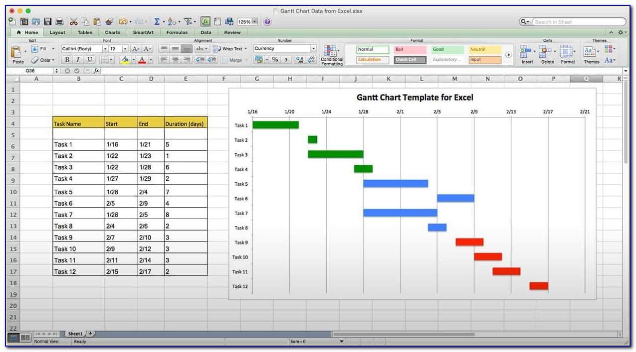 Gantt Chart Excel Template 2018
