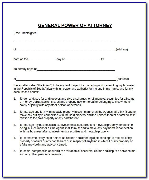 General Power Of Attorney Template Free