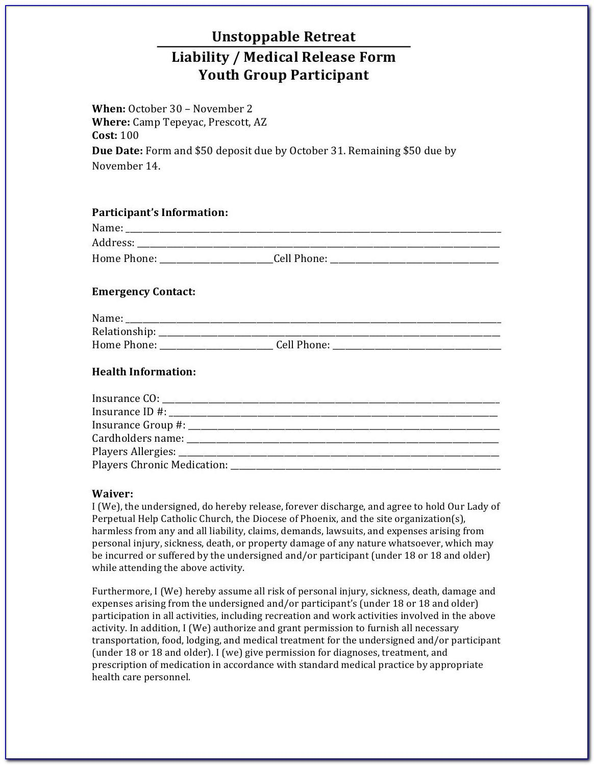 Generic Sports Liability Waiver Form