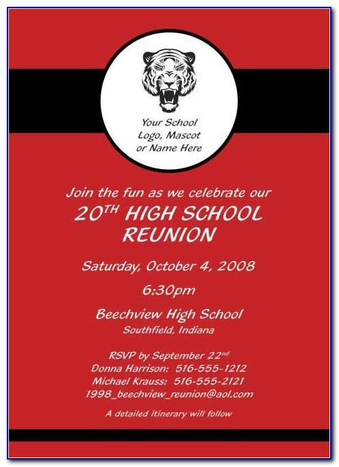 High School Reunion Invitation Sample