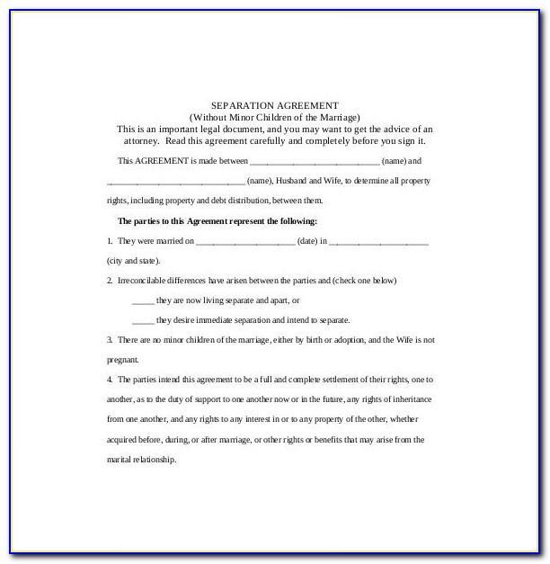 Informal Separation Agreement Template Uk