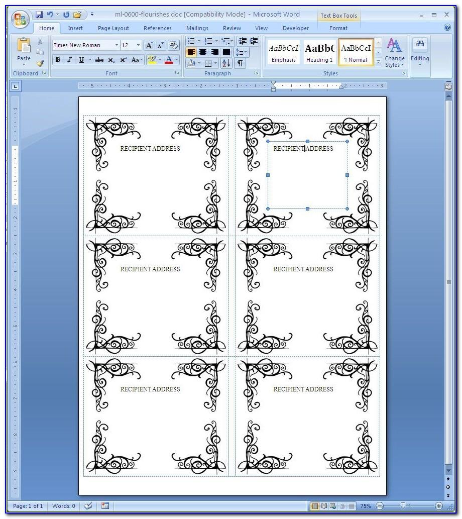 Label Printing Template Word 2010