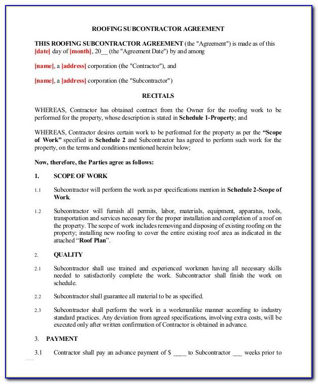 Labour Only Subcontractor Agreement Template Uk