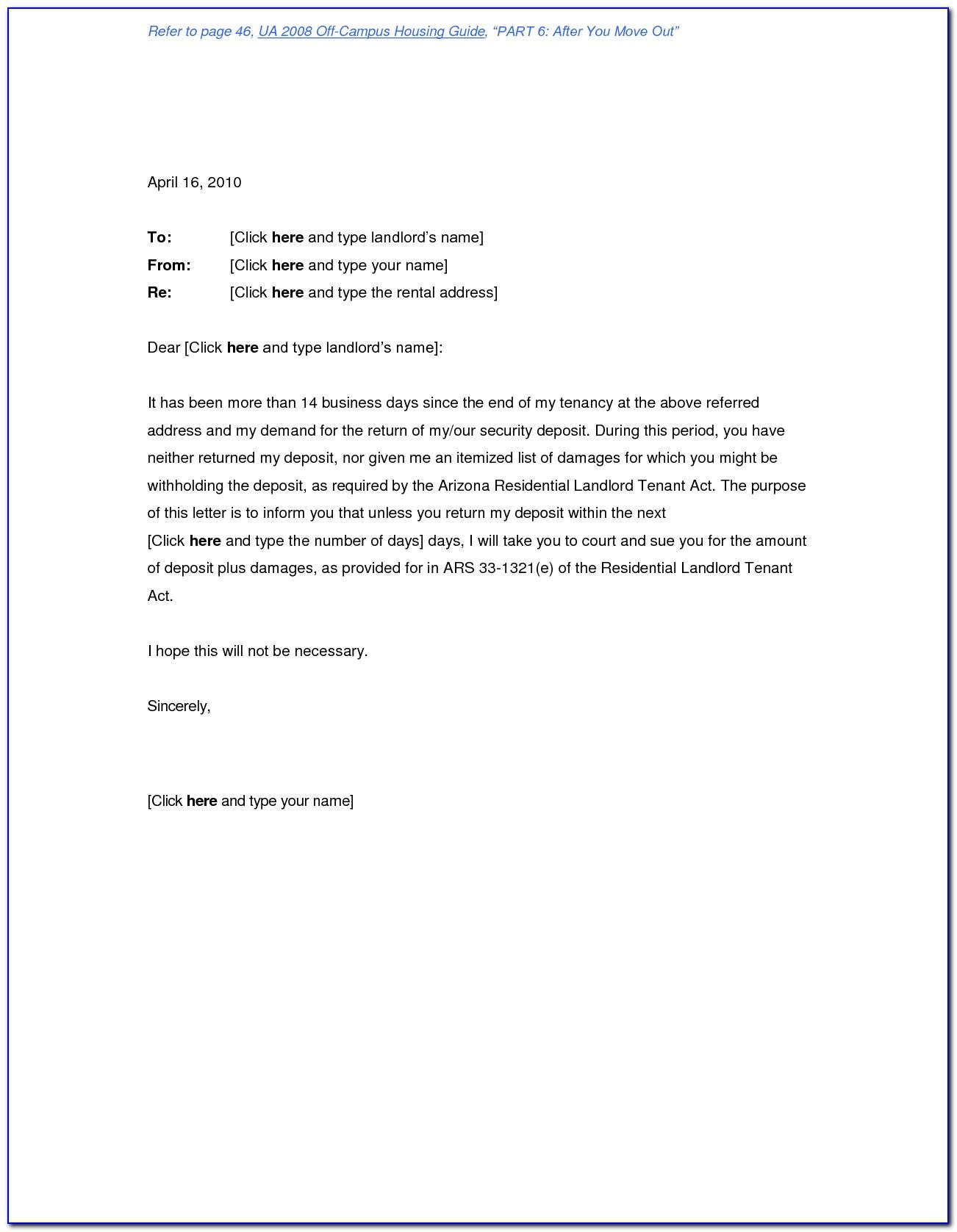 Landlord Security Deposit Refund Letter Template