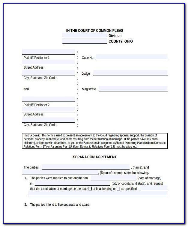 Legal Separation Agreement Bc Template