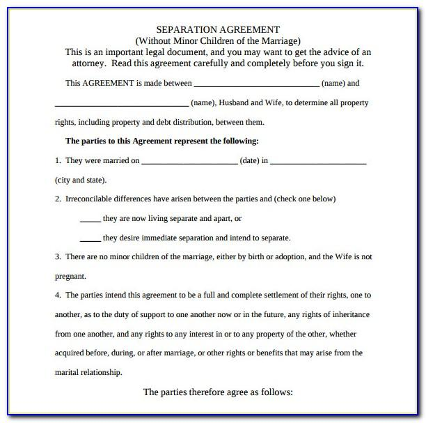Legal Separation Agreement Template Uk