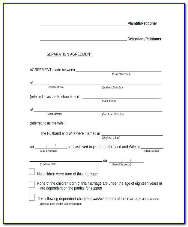 Marriage Separation Agreement Template Free Ontario