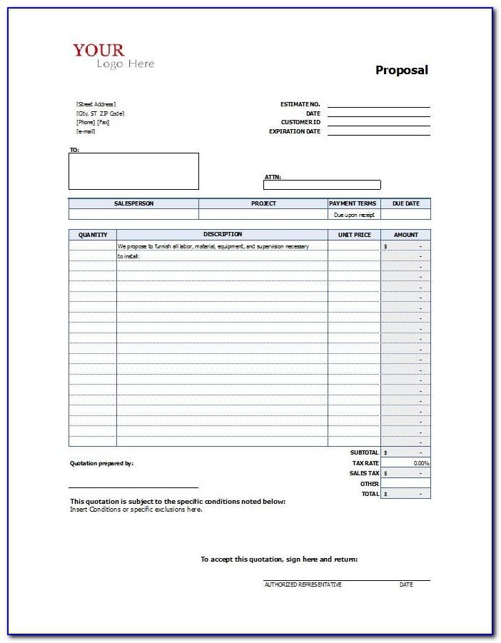 Microsoft Excel Proposal Template