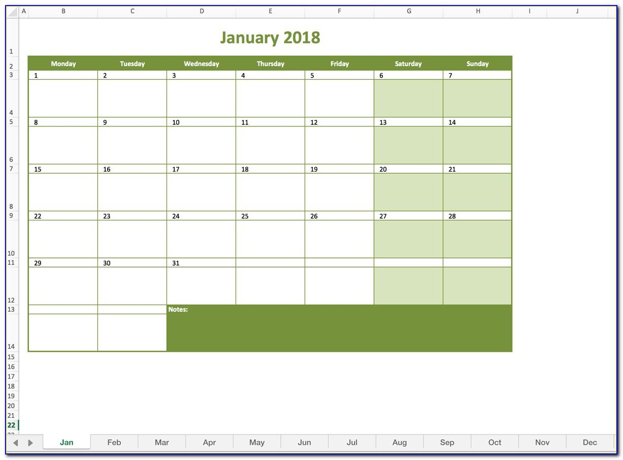 Monthly Schedule Template Excel 2018