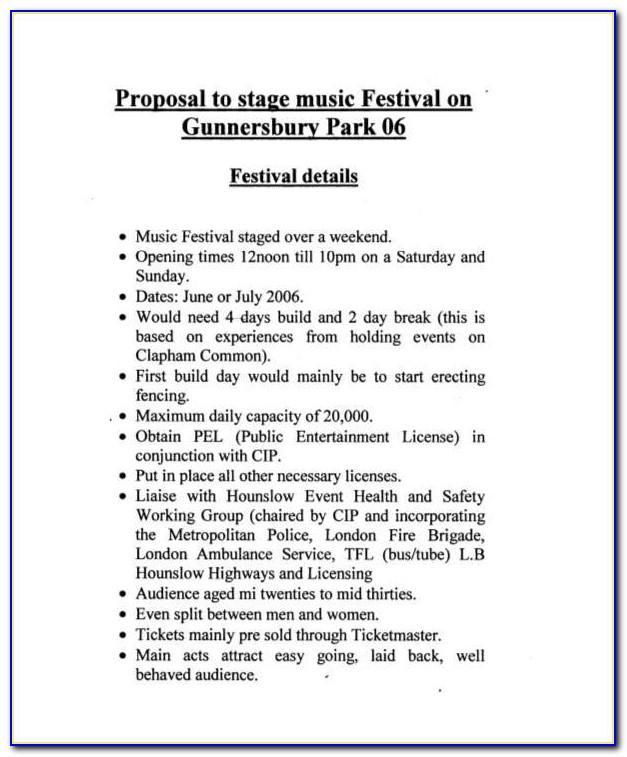 Music Festival Sponsorship Proposal Template Pdf