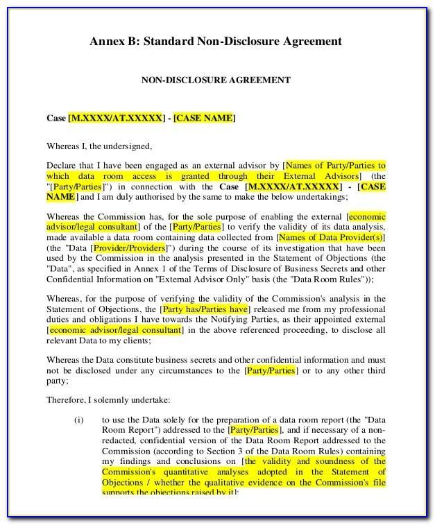 Non Disclosure Agreement Standard Form 312