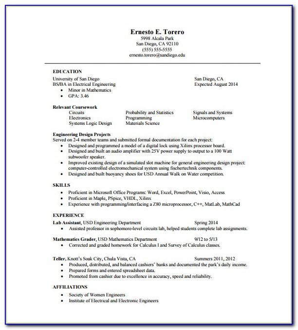 One Page Resume Template Free Download Word