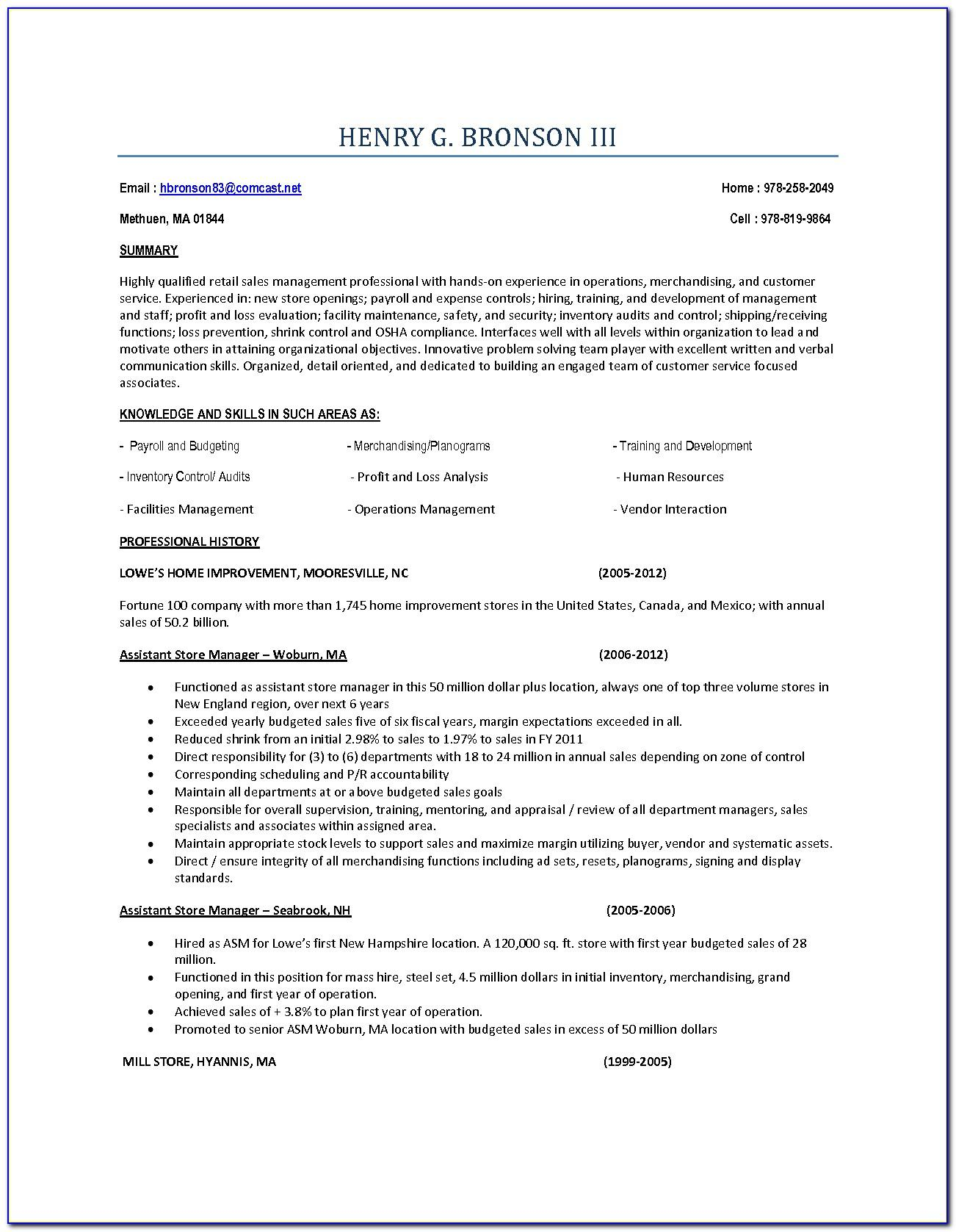 Optical Store Manager Resume Format