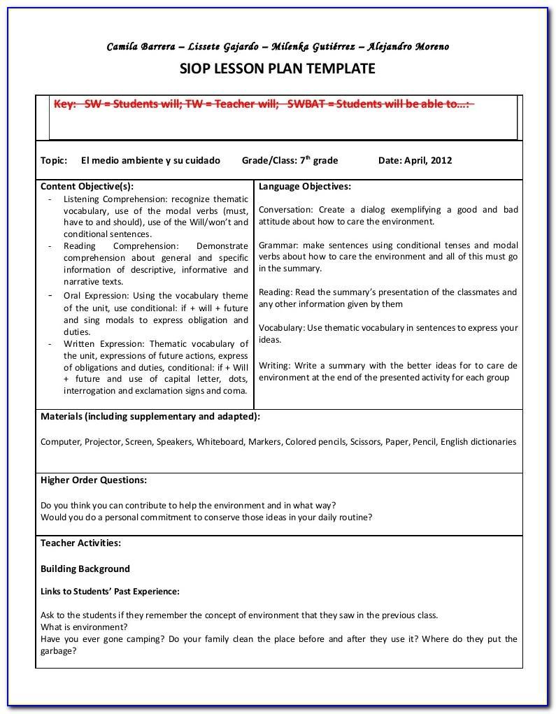 Pearson Siop Lesson Plan Template 1