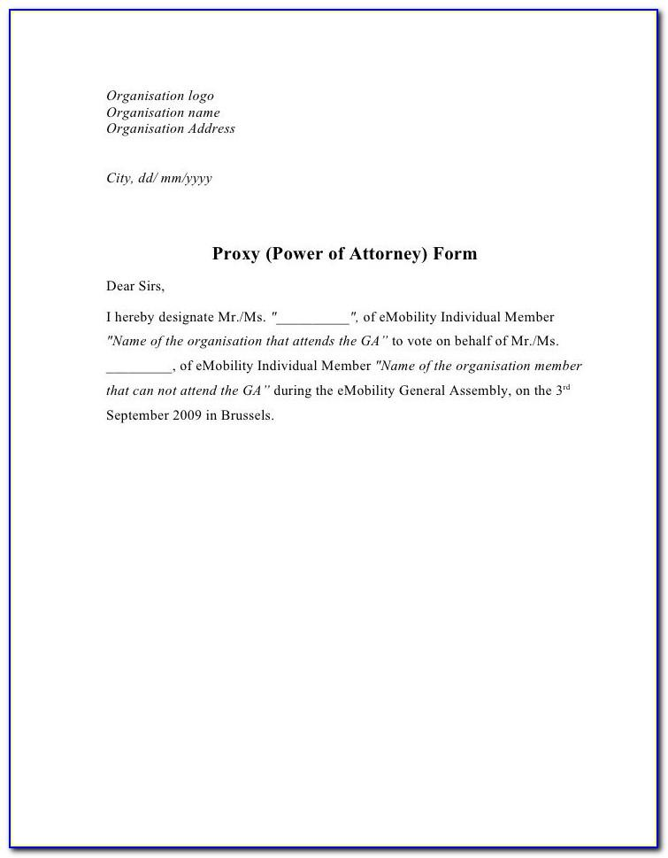 Power Of Attorney Example Canada