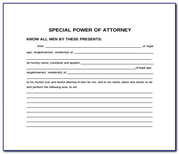 Power Of Attorney Example Word