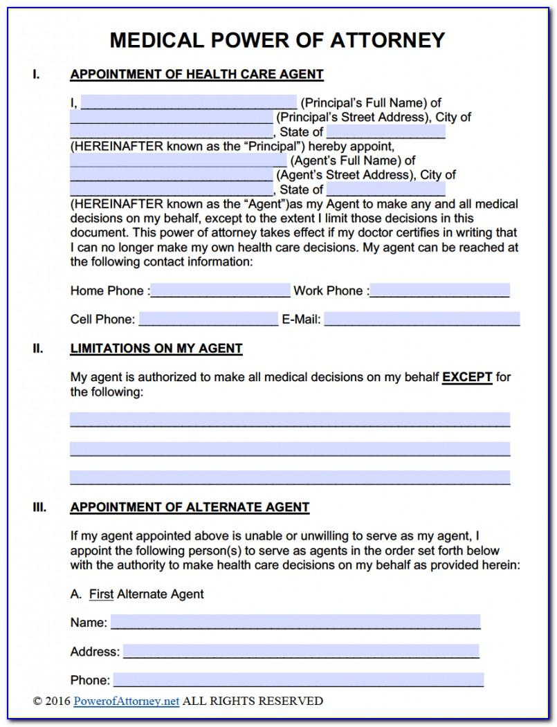 Power Of Attorney Form Download Free