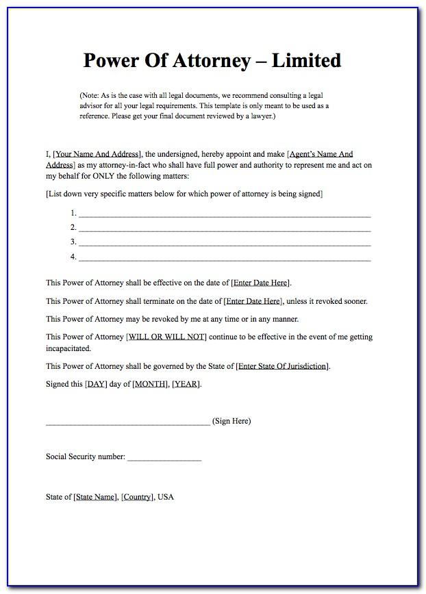 Power Of Attorney Template Free