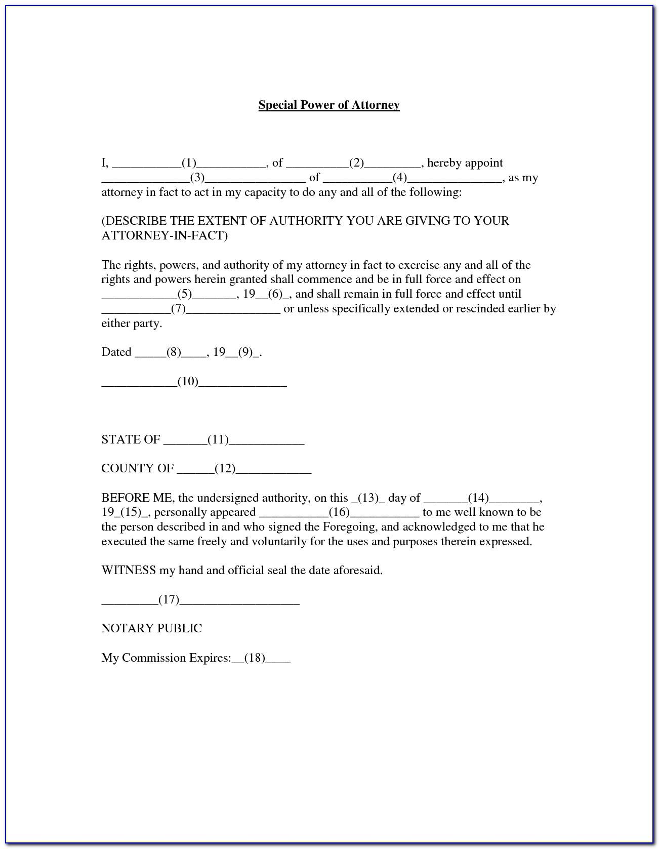 Power Of Attorney Template Texas