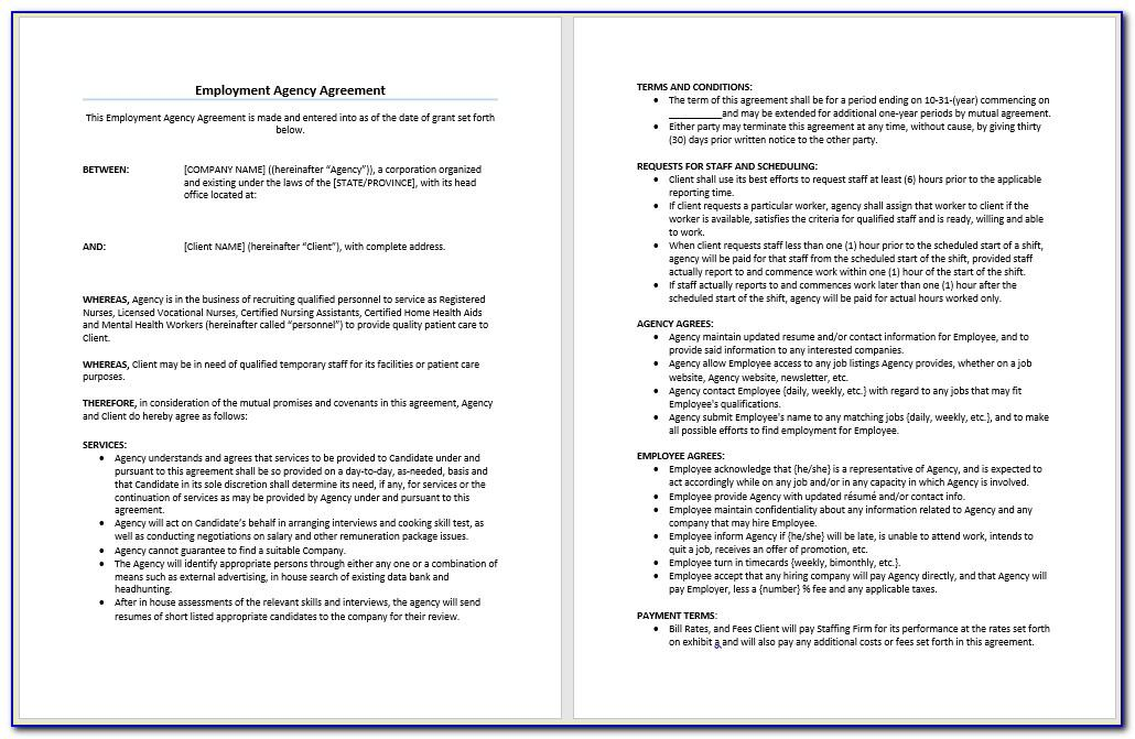 Recruitment Agency Service Agreement Template