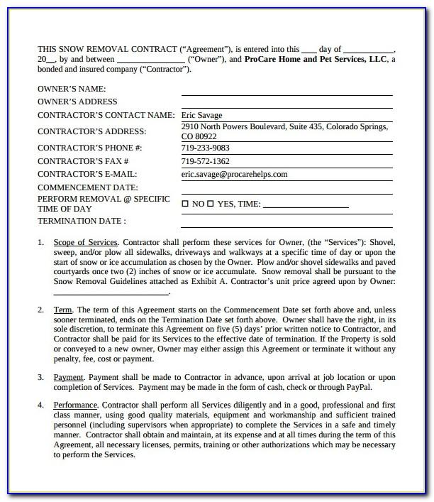 Residential Snow Removal Contract Form