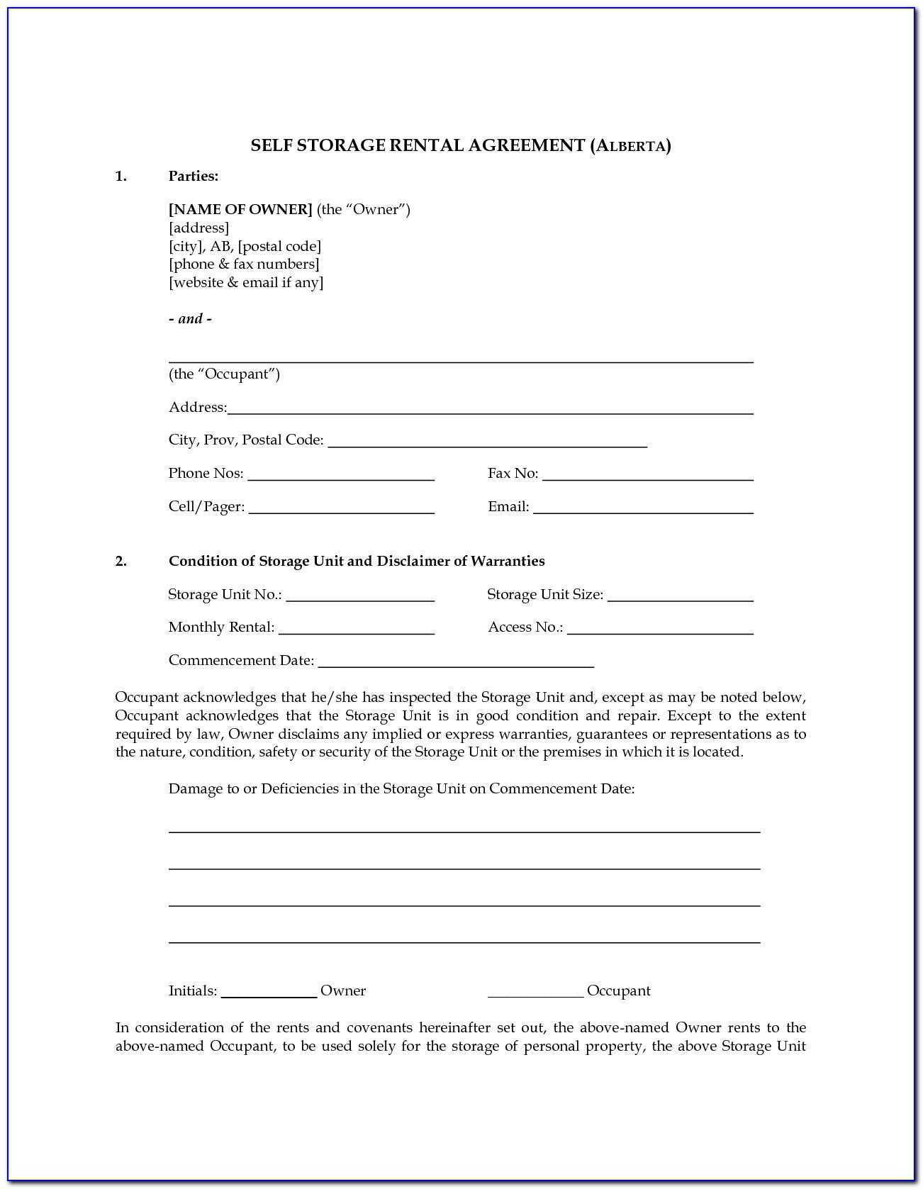 Rv Storage Rental Agreement Form