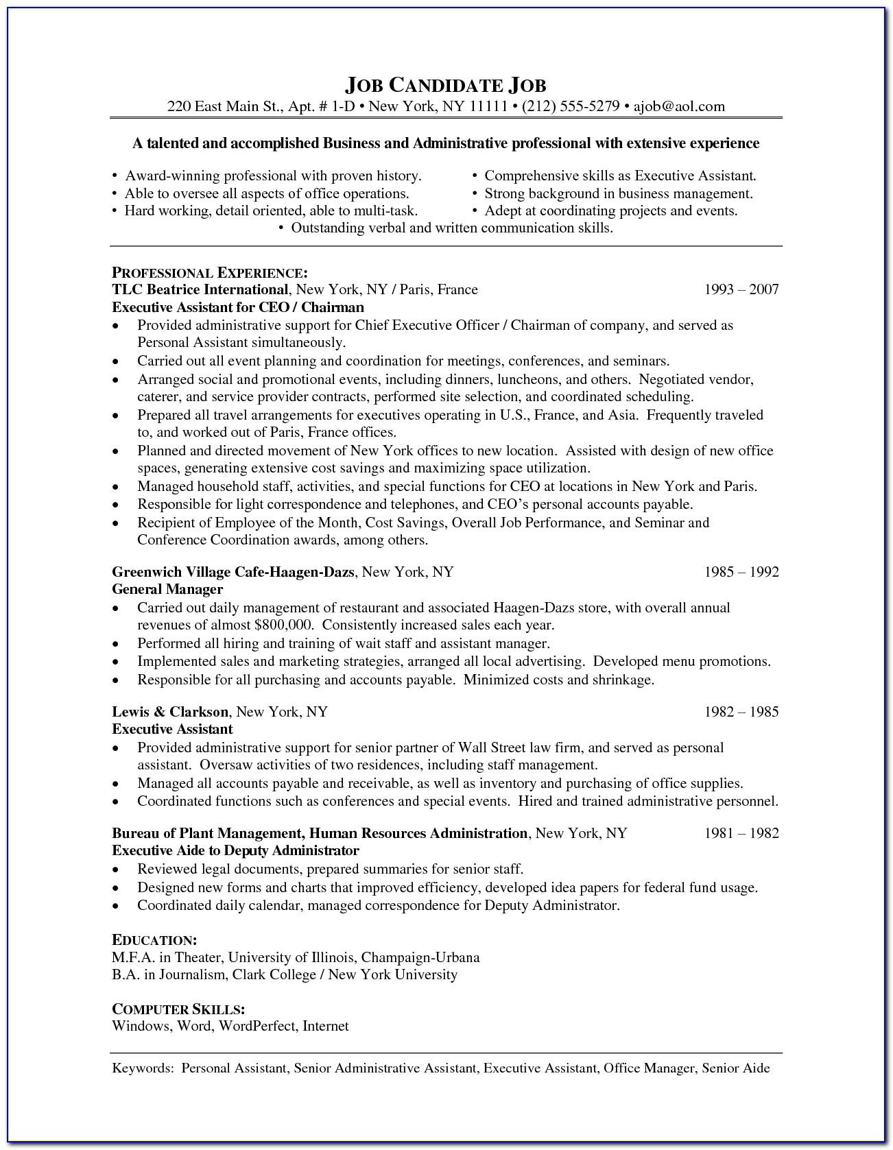 Sample Cv Senior Manager