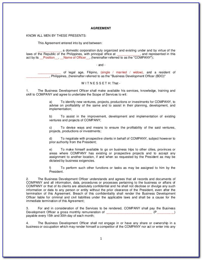 Sample Employment Contract Agreement Philippines