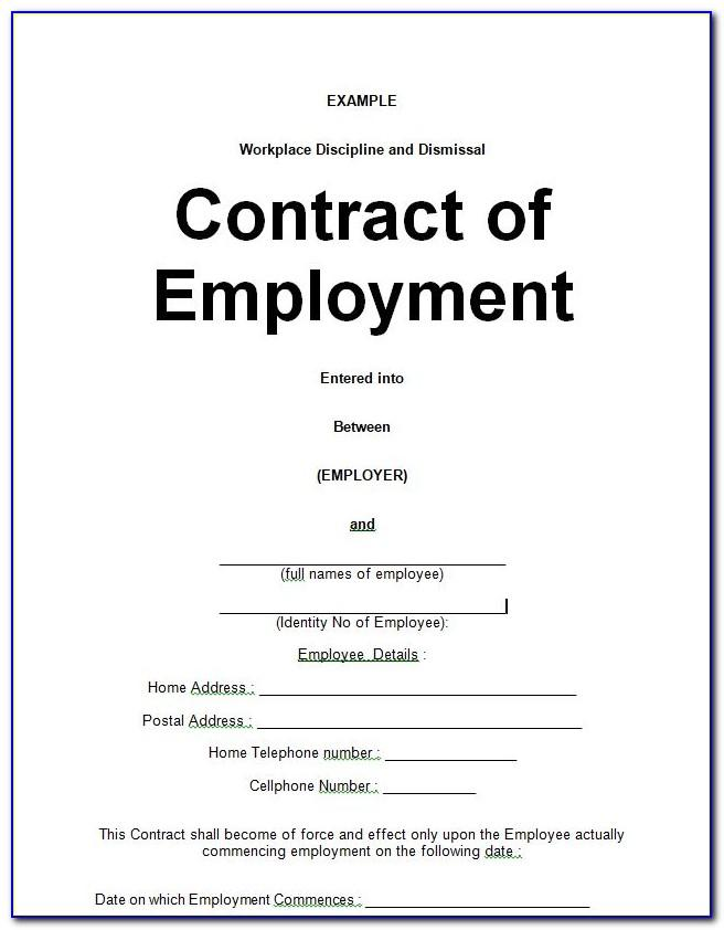 Sample Employment Contract Template Free