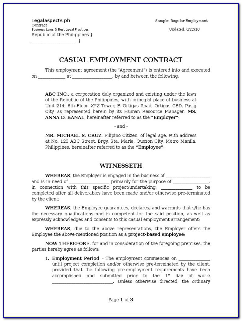 Sample Of Employment Contract Agreement Malaysia
