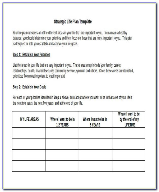 Sample Of Strategic Life Plan
