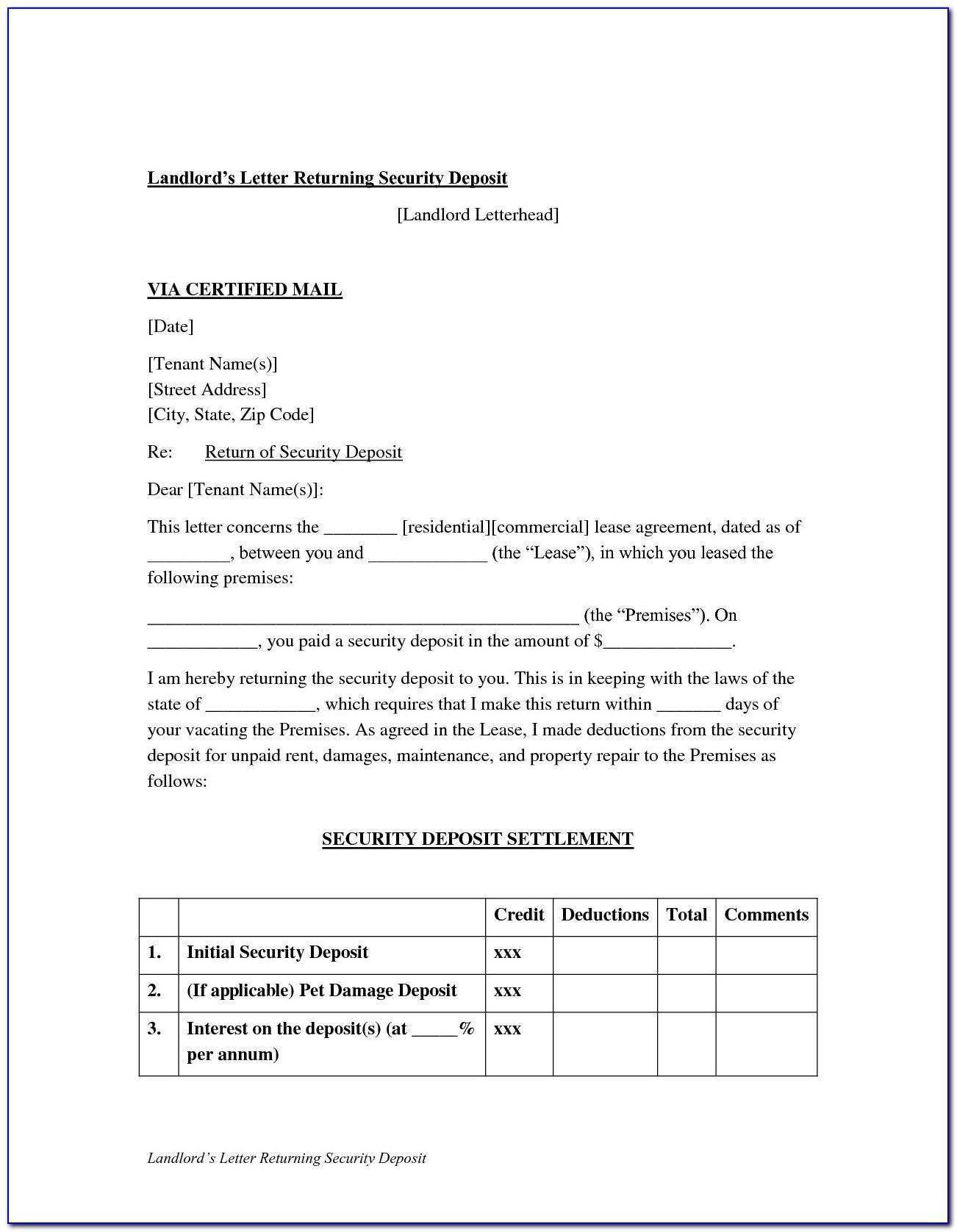 Sample Security Deposit Refund Letter Texas