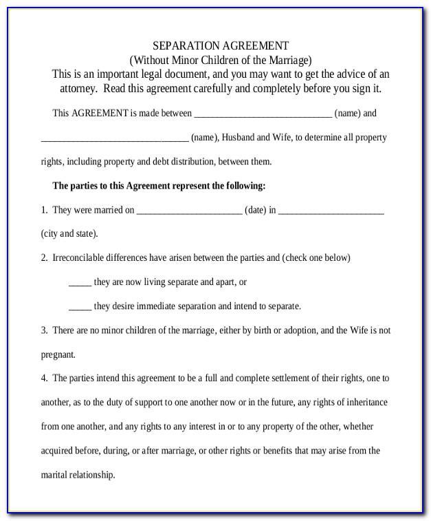 Sample Separation Agreement Form Ontario