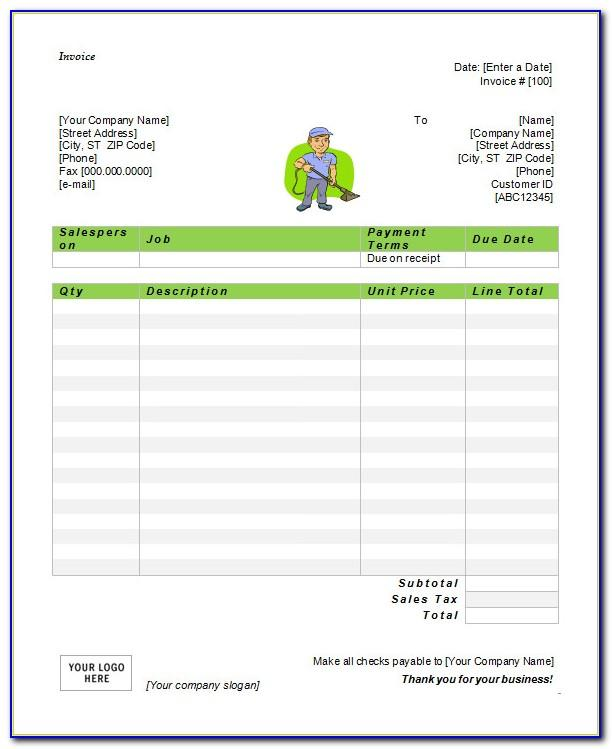 Sample Service Invoice Template Microsoft Word