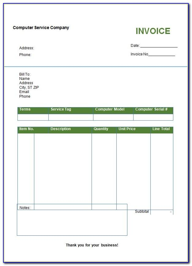 Sample Service Invoice Template Word