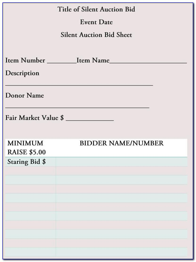 Sample Silent Auction Bid Sheets Free