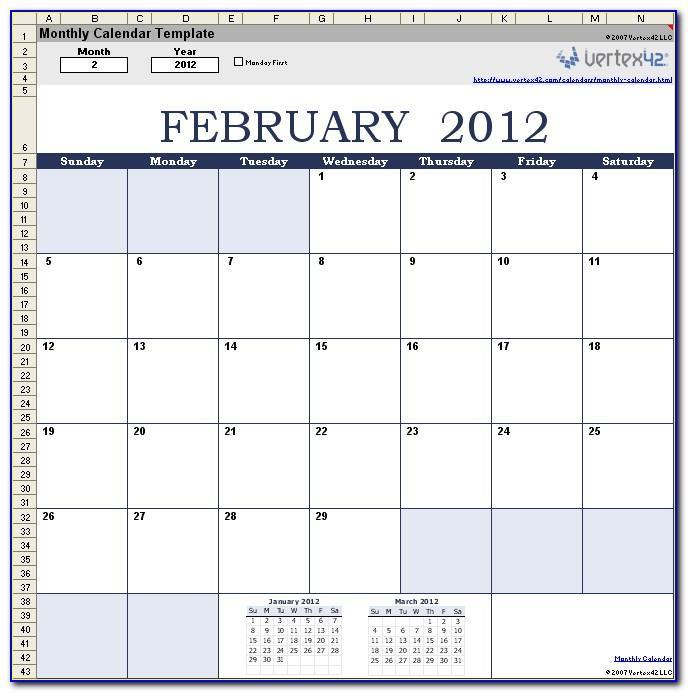 Scheduling Calendar Template 2017
