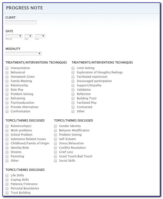 School Counseling Progress Notes Template